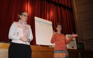 Cyndi Williams Executive Director of the Chamber of Commerce and Town Planner Charleen Greenhalgh make a presentation on the Harwich Center Cultural District to stakeholders at the Harwich Cultural Center. WILLIAM F. GALVIN PHOTO  (photo: William F. Galvin)