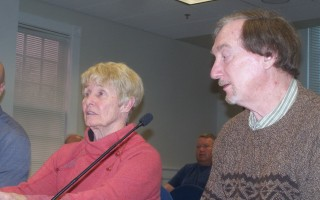 Conservation commission member Judith Bruce recused herself at a hearing Nov. 6 so she could represent the Orleans Pond Coalition and its plan to aerate Sarah's Pond. OPC's technical consultant Dr. Kenneth Wagner sat with her.  ED MARONEY PHOTO  (photo: Ed Maroney)