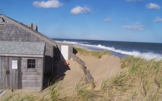 The waves are eager to climb the dwindling dune protecting town facilities at Nauset Beach. ED MARONEY PHOTO  (photo: )