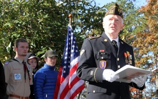 """I consider myself one of the lucky ones,"" said SPC Ted Miller, U.S. Army, Ret., a Vietnam veteran and the keynote speaker at Sunday's Veterans Day ceremony in Harwich.  ALAN POLLOCK PHOTO  (photo: Alan Pollock)"