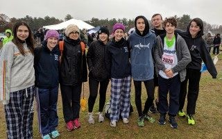 Monomoy cross-country runners Emily Blake, Caroline Davock, Francesca Marchesi, Julia Rioux, Margo Dery, Steven Young, Dan Street, Quinn Schuyler, and Ryder Robbins, had strong performances in the Div. 7 south sectionals. Kimberly Robbins Photo  (photo: )