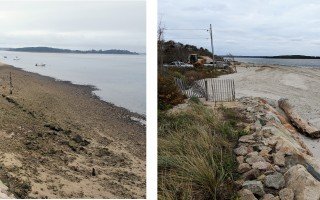 A view of Scatteree Landing before the beach nourishment (left) and after.  (photo: Ted Keon, left; and Alan Pollock, right.)