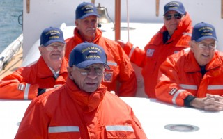 Andrew Fitzgerald (foreground) and his shipmates on the CG36500 during the 50 th  anniversary of the rescue in 2002. FILE PHOTO/USCG  (photo: USCG PA3 AMY THOMAS)