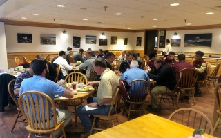 Each year before the Thanksgiving Day game between Cape Tech and Upper Cape Tech, seniors, coaches, and school administrators gather for a traditional breakfast at the host school. This year it was Cape Tech hosting breakfast on Nov. 19. Kat Szmit Photo  (photo: )