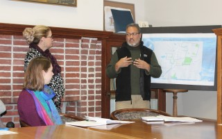 Luis Cotto of the Massachusetts Cultural Council points to the Harwich Cultural Center on a proposed cultural district map for Harwich Center during a discussion with stakeholders on the proposed district in town hall last Thursday. WILLIAM F. GALVIN PHOTO  (photo: William F. Galvin)