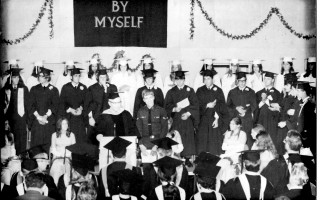 Graduating Class of 1970 with Airman Kelley P. Gleason speaking. Gleason would have been part of this class but left for the Air Force the prior year. COURTESY PHOTO  (photo: )