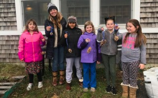 The Chatham Elementary School Garden Club made sun butter and bird seed pine cones to hang in the trees to keep our feathered friends fed this winter.  (photo: )