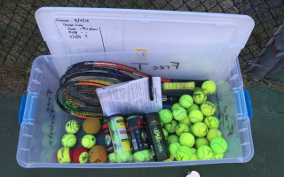 A Little Tennis Library awaits players at a Chatham court. 
