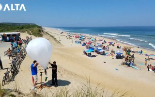 Researchers from Florida-based tech firm Altametry ran a trial of their balloon-mounted shark surveillance system at Newcomb Hollow Beach in Wellfleet on Aug. 1, 2017. A little more than a year later, a 26-year old man was the victim of a fatal shark attack at the same beach. COURTESY ALTAMETRY  (photo: Courtesy Altametry)