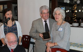 Council on Aging Director Emily Mitchell and COA Chairman Richard Waystack present the Laurel Award to SHINE counselor volunteer Aline Glifort during a luncheon at Jake Rooney's restaurant on Thursday at which the COA honored the nearly 100 volunteers helping seniors in Harwich. Other award winners Ethel DeBakker and Pat Hays were not present at the luncheon. WILLIAM F. GALVIN PHOTO  (photo: William F. Galvin)