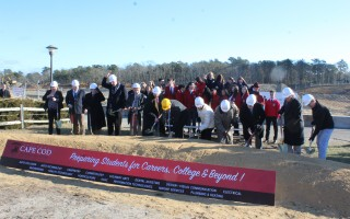 State officials, members of the Cape Cod legislative delegation and representatives of the Cape Cod Regional Technical High School family dug in on Friday morning during a groundbreaking ceremony for the new high school that will be constructed in the Pleasant Lake section of Harwich. WILLIAM F. GALVIN PHOTO  (photo: William F. Galvin)
