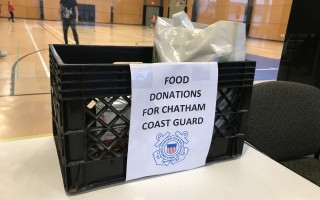 Food donation bins, like this one at the Chatham Community Center, are available at Cape Cod Five branches and other locations in the area to collect items for families in need due to the federal government shutdown.  TIM WOOD PHOTO 