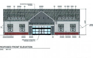 A schematic rendering of the front of a retail store proposed at the location of the historic Captain George Winchell Baker house site along Route 28 in West Harwich.  (photo: )