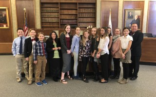 The Monomoy Middle School Mock Trial participants and their role in the case were Ashley Anderson, assistant principal; Alexa Azure , witness (not pictured); Michael Considine, defendant; Kassandra Cruz, attorney for the defendant; Charlie Hamilton, witness; Claire Hemeon, witness; Rowan Jansen, witness; Maya Jones, attorney for the defendant; Allison Miller, assistant district attorney; Mila Narkon, witness/victim; Aubrieta Schneeberger, school resource officer, Monomoy Middle School; Hillevi Segerson, witness; Alexis Wilson, witness (not pictured); and Chase Yarletts, assistant district attorney. Thanks also to Attorney Matthew Bober as the Judge (who also served as legal coach for the students during Mock Trial prep) and Chatham Police Sgt. Bill Massey, Monomoy SRO.  (photo: )