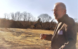 Board President Bob Jones of Orleans stood on the four-acre site behind Mid-Cape Home Centers Feb. 4 during groundbreaking ceremonies for Cape Cod Village, which will provide housing for 15 adults with autism and a community resource center.  ED MARONEY PHOTO  (photo: Ed Maroney)