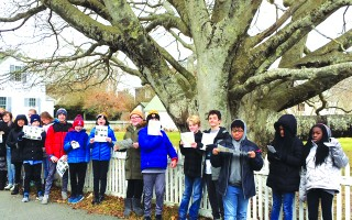 Monomoy Middle School sixth graders visited some of Chatham's most significant trees as part of a study of local history, supported by a grant from the Friends of Trees. COURTESY PHOTO  (photo: )