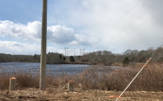 A recent photo taken by Conservation Agent John Jannell shows that distribution lines and poles have been removed from Cedar Pond.  TOWN OF ORLEANS PHOTO  (photo: John Jannell, Town of Orleans)