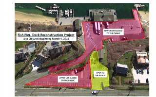 This graphic shows areas of the municipal fish pier that will be off-limits to the public during construction of a new observation deck.  (photo: )