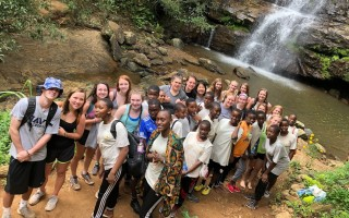 Students from Monomoy Regional High School join students from the SEGA Girls Secondary School on a waterfall excursion during their service learning trip to Tanzania in February.  COURTESY PHOTO  (photo: Courtesy photo)