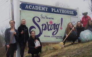 Joining the spring sweep-out at the Academy Playhouse are Academy students Evie McGonigle, Phebe Lowry, Sabine Krum, Sarah Needel, Denney Forget, and Kate Sorz. That's Karen McPherson behind the fancy mask. ED MARONEY PHOTO  (photo: )