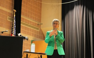Representative Sarah Peake speaks at Saturday's town hall discussion on environment and energy issues at Nauset Regional Middle School. RUSS ALLEN PHOTO  (photo: Russ Allen)