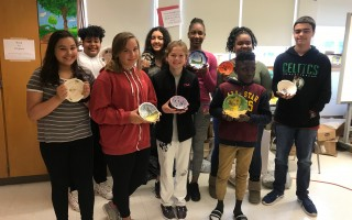 Monomoy Regional Middle School students display soup bowls they created for the May 1 fundraiser. COURTESY PHOTO  (photo: )