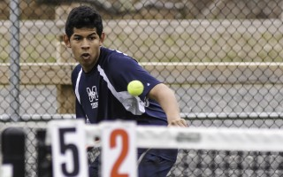 Monomoy's Joseph Malone keeps his eyes on the ball as he prepares to return the shot in second doubles against Cape Cod Academy on May 2. Malone and teammate Colin Malone (no relation) won their match and remain undefeated so far this season. Kat Szmit Photo  (photo: Kat Szmit)