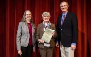 "Helen Gigley of Harwich, center, with Dean Laura Haas, left, and chair of the Faculty James Allen at the recent UMass Amherst College of Information and Computer Sciences ""Computing for the Common Good"" award ceremony. COURTESY PHOTO  (photo: Lesley Arak)"