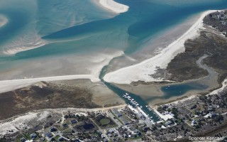 An aerial view of Outermost Harbor taken May 7 shows the narrow channel between the marina and open water. SPENCER KENNARD PHOTO  (photo: Spencer Kennard / www.CapeCodPhotos.com)