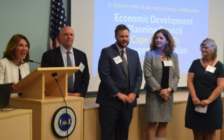 Lt. Gov. Karyn Polito addressed a gathering of government, business and community leaders to discuss economic development at the community center Tuesday. To her left are Mike Kennealy, secretary of the office of housing and economic development; Cape and Islands Senator Julian Cyr; Executive Office of Labor and Workforce Development Secretary Rosalin Acosta; and Chatham Board of Selectmen Chair Shareen Davis. TIM WOOD PHOTO  (photo: )