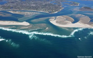 This May 7 photo of the North Inlet shows shoals just inside the northern tip of North Beach Island which are impeding navigation. The state department of environmental protection last week upheld the town's plans to dredge the area after a Minister' Point homeowner objected. SPENCER KENNARD PHOTO  (photo: )
