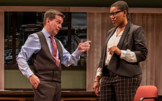"John Kooi and Tyra Ann-Marie Wilson in ""Race"" at the Wellfleet Harbor Actors Theatre. MICHAEL AND SUZ KARCHMER PHOTO  (photo: )"