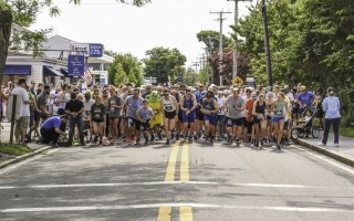 Runners set out at the start of the 10 th  Annual Harwich 5K on June 22 in Harwich Port. This year's male and female winners were Bryan Gallagher and Julianna Coughlin. Kat Szmit Photo  (photo: Kat Szmit)