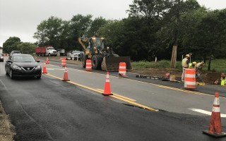 Crews working on the north side of Route 28 in the West Chatham corridor last week. The work was scheduled to end Friday and will resume again in September. TIM WOOD PHOTO  (photo: )