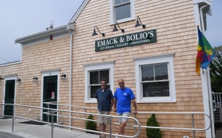 Architect Richard Tichnor and Emack and Bolio's owner John Piemontese in front of the ice cream store, which was rebuilt over the winter and spring following a devastating fire. TIM WOOD PHOTO  (photo: )