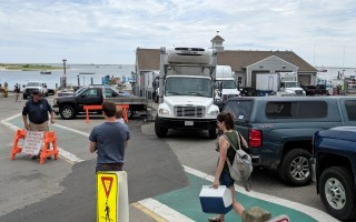 Fishermen, sightseers, construction workers and fish haulers jostle for space Monday in the lower lot of the Chatham Fish Pier. ALAN POLLOCK PHOTO  (photo: Alan Pollock)