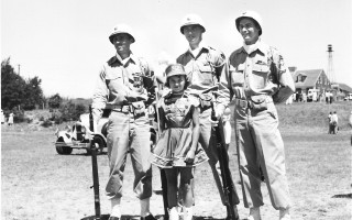July 4th Chatham Parade 1953, marching with Honor Guard - the Griffin Brothers (left to right) Bob, WW II vet, US Navy; Dick, Korean Conflict vet, National Guard; Wayne, WW II vet, US Army, with their youngest sister Joyce as the majorette. PHOTO  COURTESY OF GINNY (GRIFFIN) FORGERON  (photo: )