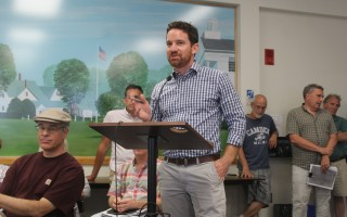 Chad Brubaker of Liscotti Development informs the planning board Tuesday evening the Harwich Retail LLC retail outlet development proposed for Route 28 in West Harwich was being withdrawn. WILLIAM F. GALVIN PHOTOS  (photo: )