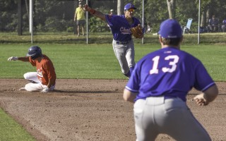 Chatham shortstop Ben Ramirez (49) throws the ball to first baseman Paxton Wallace (13) for a double play against the Y-D Red Sox July 12. Kat Szmit Photo  (photo: Kat Szmit)