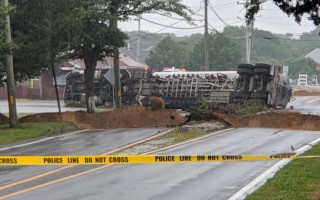 Tanker truck overturned near Star Market on Sisson Road in Harwich early this morning. ALAN POLLOCK PHOTO  (photo: )