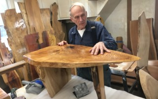 Brent Hemeon displays one of his hand-crafted tables. JIRO ADACHI PHOTO  (photo: Jiro Adachi)