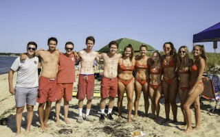 The Harwich lifeguard team—Nick Veale, John Clancy, Kevin Walsh, Patrick O'Connor, Tommy O'Connor, Rachel Cardillo, Mackenzie Cardillo, Guinevere Ferreira, Nadia Visco, Kathleen O'Connor, and Reagan Meehan—might not have finished near the top in the 2019 Lifesaving Competition, but they had spirit to spare.  KAT SZMIT PHOTO  (photo: Kat Szmit)