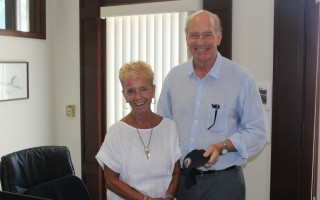 Just a couple of weeks before Robinson's final day in town hall, Congressman Bill Keating was here examining the impact from the July 23 tornado and he took time to stop by and wish her a happy retirement. WILLIAM F. GALVIN PHOTO  (photo: William F. Galvin)