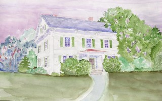 Watercolor of a home on the Captains' Row in West Harwich painted by Ralph Muldrow.  (photo: )