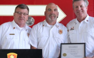 Fire Chief Norman Clarke, Jr., Deputy Fire Chief Dave LeBlanc and newly appointed Fire Inspector Bruce J. Young participate in a swearing-in ceremony in the department headquarters last week. WILLIAM F. GALVIN PHOTO  (photo: William F. Galvin)