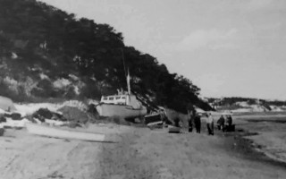 Jackie Crosman's boat Hiliary Ann (later named Marcia Mary) washed ashore after a nor'easter blew her off the mooring, circa 1960. PHOTO COURTESY OF MIKE CROSMAN  (photo: )