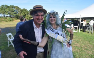 The Ms. Eelgrass contest returned this year to the Chatham VFW, where it began 35 years ago.  Here, Judge John Forger and the newest Ms. Eelgrass, Maria Price. TIM WOOD PHOTO  (photo: Tim Wood)