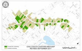 This map shows properties included in the proposed South Chatham National Register District.  (photo: )