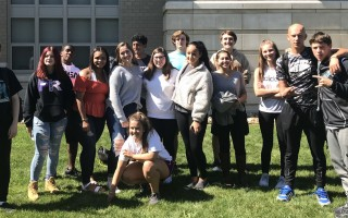 Alison Burton and Betsy Casey hosted a welcome lunch for the 40-plus new students at Monomoy High School, students in grades 8 to 12 who transferred here from other schools. Peer leadership students, above, helped out.  (photo: )