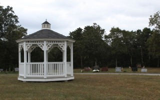 The gazebo purchased for the proposed pet burial grounds was moved last week to the new section of Evergreen Cemetery in East Harwich. WILLIAM F. GALVIN PHOTO  (photo: William F. Galvin)